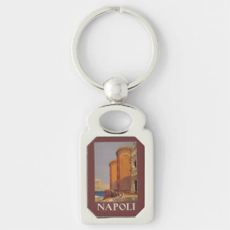 Llavero de Napoli del vintage (Nápoles) Italia Llavero Plateado Rectangular
