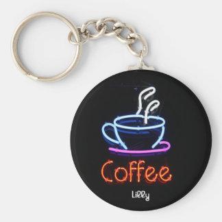 Llavero de neón de la muestra del café
