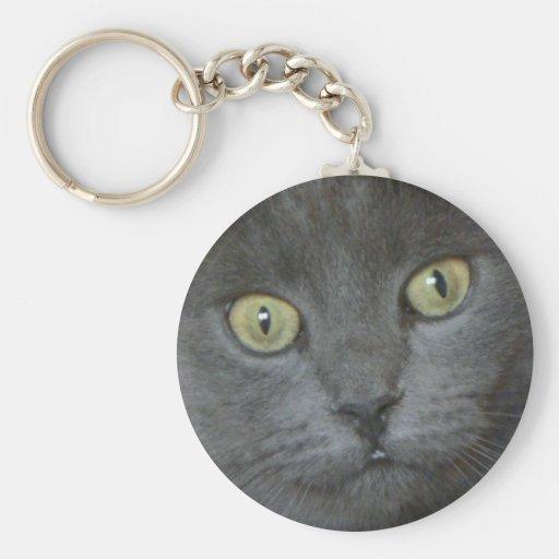 Llavero de ojos verdes del gato negro