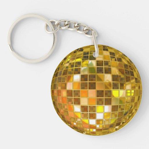 Llavero de oro de la bola de discoteca