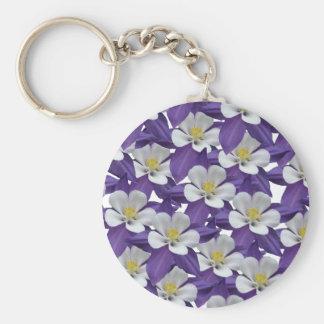 Llavero de Patten de las flores púrpuras y blancas