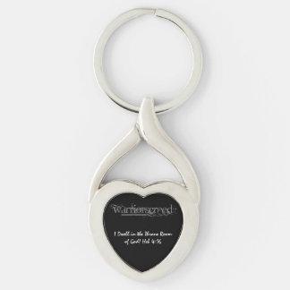 Llavero de piedra gris del corazón del logotipo de llavero plateado en forma de corazón