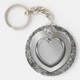 Llavero de plata de los corazones