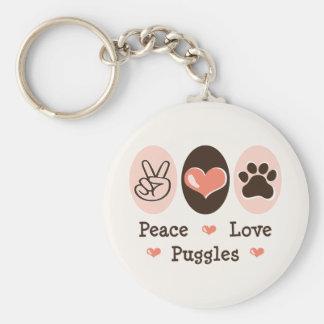 Llavero de Puggles del amor de la paz