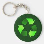 Llavero de reciclaje verde del símbolo