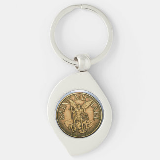 LLAVERO de San Miguel Llavero Plateado En Forma De Espiral