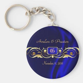 Llavero de seda azul de la voluta del oro del marq
