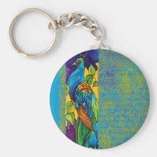 Llavero de seda de la pintura del pavo real glorio