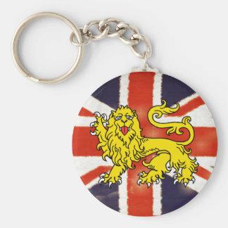 Llavero de Union Jack del vintage del león de la h