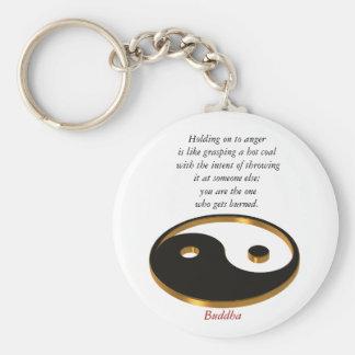 Llavero de Yin Yang con la cita de Buda