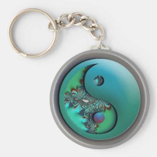 Llavero de Yin Yang de la plata del fractal de la