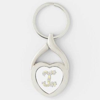 Llavero decorativo de la letra inicial I de las Llavero Plateado En Forma De Corazón