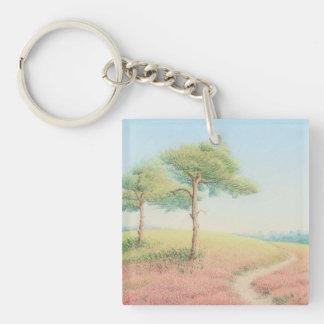 Llavero del acrílico de los árboles de pino del