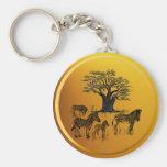 Llavero del árbol de la cebra y del baobab