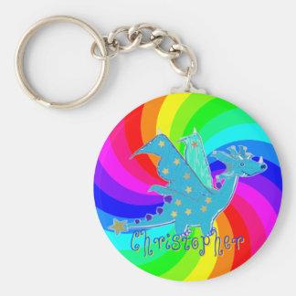 Llavero del arco iris del dragón del dibujo animad