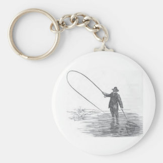 Llavero del arte de la pesca con mosca del vintage