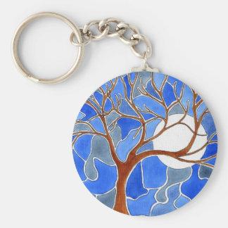 Llavero del arte del árbol y de la luna - azul