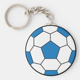 Llavero del azul del balón de fútbol