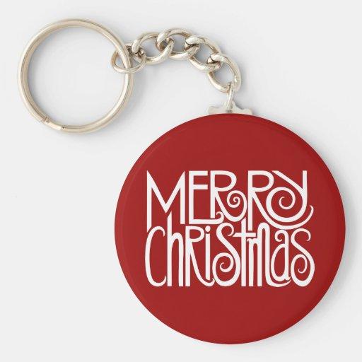 Llavero del blanco de las Felices Navidad