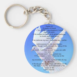 Llavero del botón de la paloma escrito con el salm
