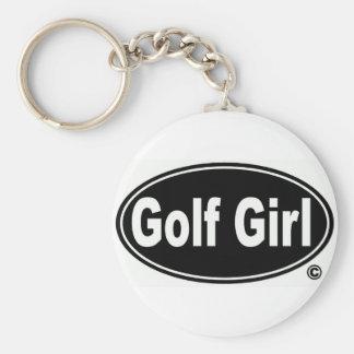 Llavero del botón del chica del golf