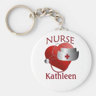 Llavero del botón del corazón de la enfermera del