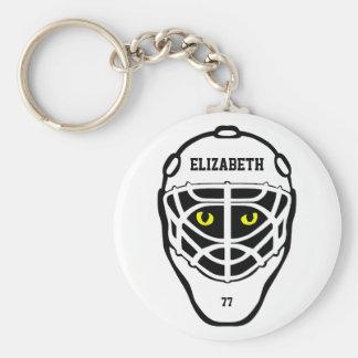 Llavero del casco de los ojos de gato del hockey