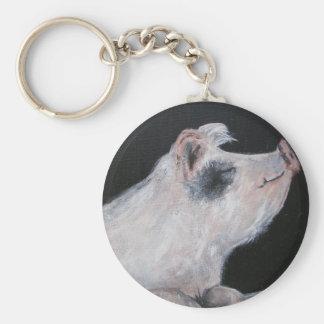 """""""Llavero del cerdo de la petunia"""" Llavero Redondo Tipo Pin"""