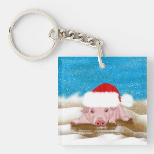 Llavero del cerdo de las vacaciones de invierno -