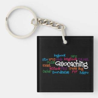 Llavero del collage de la palabra de Geocaching
