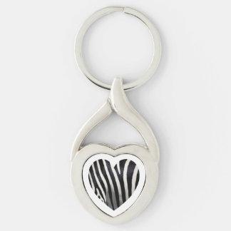 Llavero del corazón de la cebra llavero plateado en forma de corazón