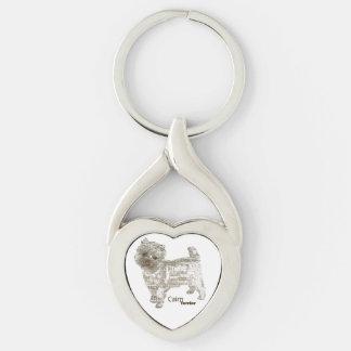 Llavero del corazón de Terrier de mojón - TypoDogg Llavero Plateado En Forma De Corazón
