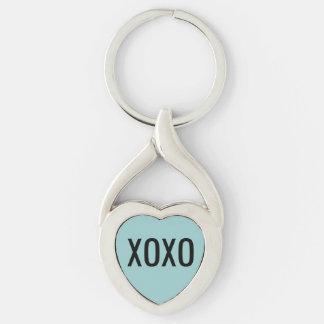 Llavero del corazón de XOXO Llavero Plateado En Forma De Corazón