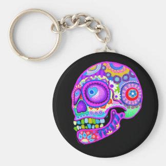 Llavero del cráneo del azúcar - arte colorido por