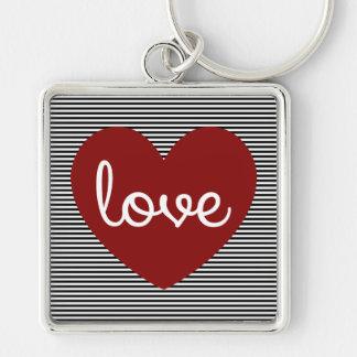 Llavero del cuadrado del corazón del amor