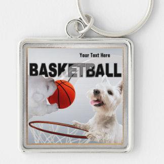 Llavero del cuadrado del diseño del baloncesto de