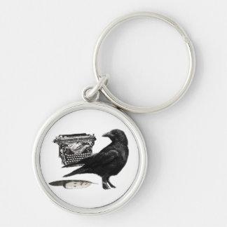 Llavero del cuervo del escritor