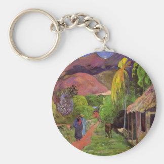 """""""Llavero del de Tahití"""" - Paul Gauguin de la ruda Llavero Redondo Tipo Pin"""