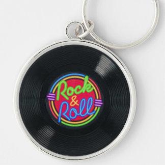 Llavero del disco de vinilo del rock-and-roll