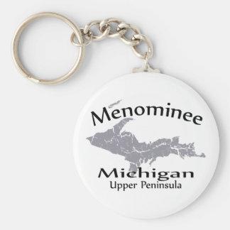 Llavero del diseño del mapa de Michigan del Menomi