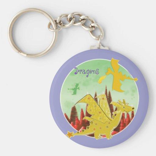 Llavero del dragón del dibujo animado de los niños