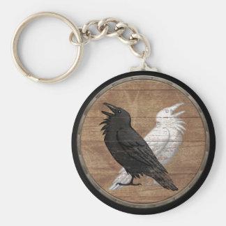 Llavero del escudo de Viking - los cuervos de Odin