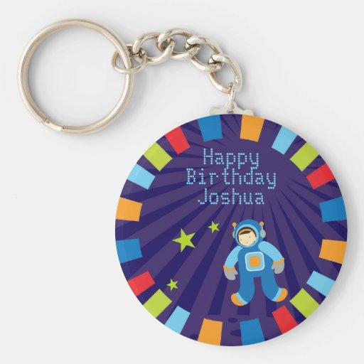 Llavero del feliz cumpleaños de la era espacial