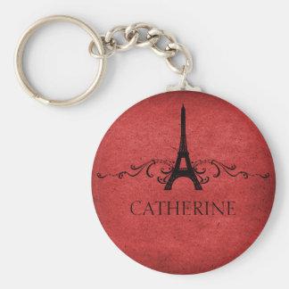 Llavero del Flourish del francés del vintage, rojo