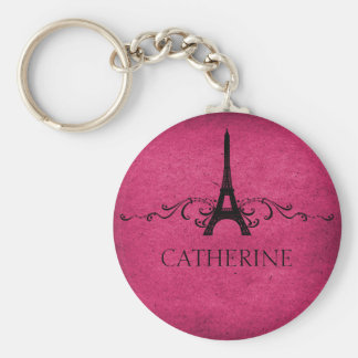 Llavero del Flourish del francés del vintage, rosa