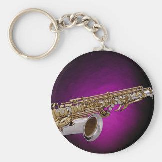Llavero del fondo del rosa de la imagen del saxofó