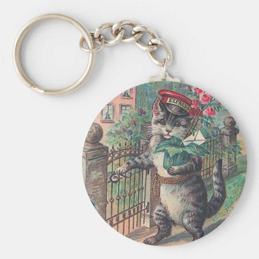 """Llavero del gato del vintage """"del cartero"""""""