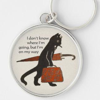 Llavero del gato negro del vintage que viaja