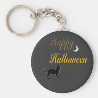 Llavero del gato y de la luna del feliz Halloween