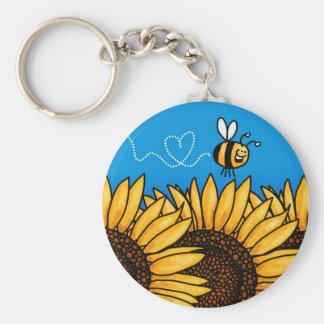 llavero del girasol del rastro de la abeja